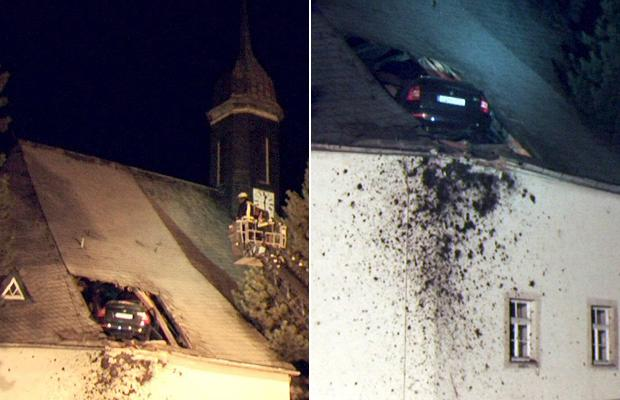 car crash into church