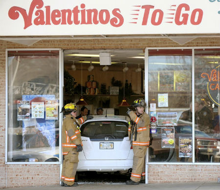car into restaurant
